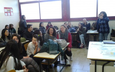The meeting of coordinator with students and parents in Italian school