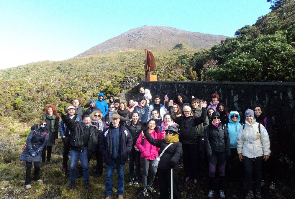 The Portuguese students and teachers on volcanic trail.