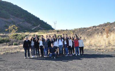 Turkish students visited the inactive volcano in Kula.