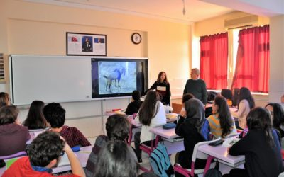 Lessons about volcanoes, fauna and flora of volcanic region at Turkish school